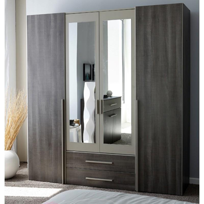Armoire alix 4 portes parisot - Armoire chambre 4 portes ...
