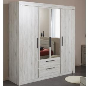 armoire filed 4 portes parisot beige chene bruni