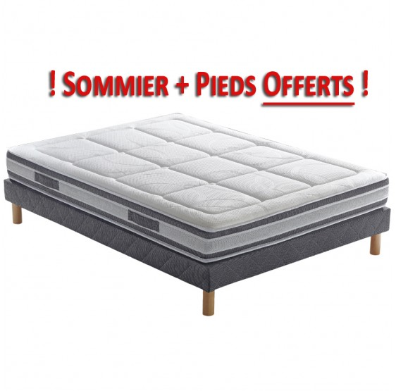pack matelas sommier et pieds pls botanica latex. Black Bedroom Furniture Sets. Home Design Ideas