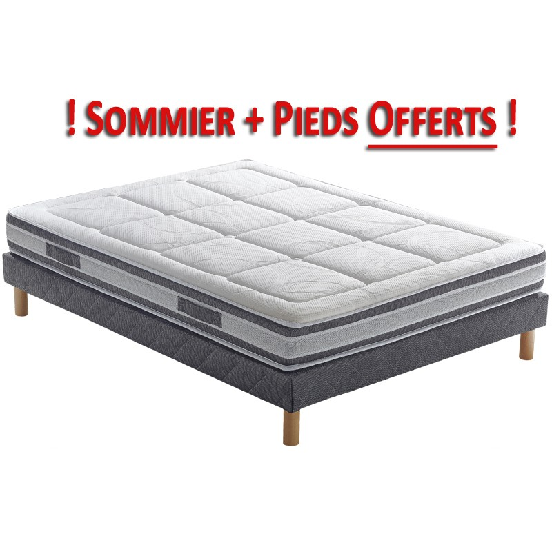 pack matelas sommier et pieds pls botanica latex literie matelas. Black Bedroom Furniture Sets. Home Design Ideas
