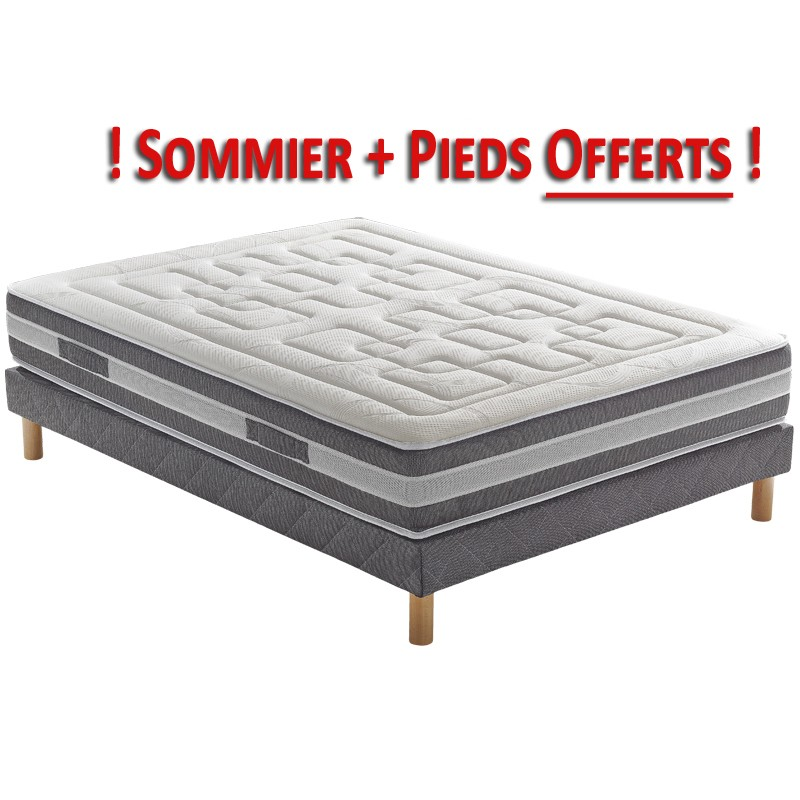 pack matelas sommier et pieds cicaloe pls ressorts. Black Bedroom Furniture Sets. Home Design Ideas