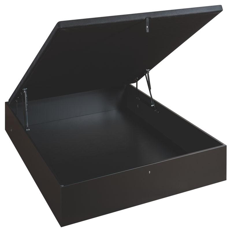 sommier coffre style bois noir 2 places merinos. Black Bedroom Furniture Sets. Home Design Ideas