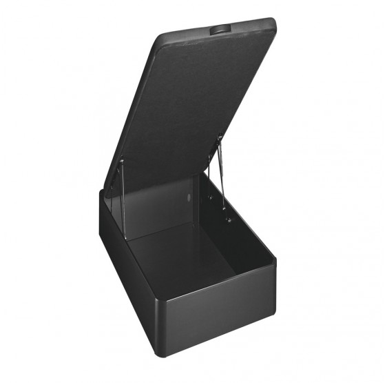 sommier coffre style bois noir 1 place merinos. Black Bedroom Furniture Sets. Home Design Ideas