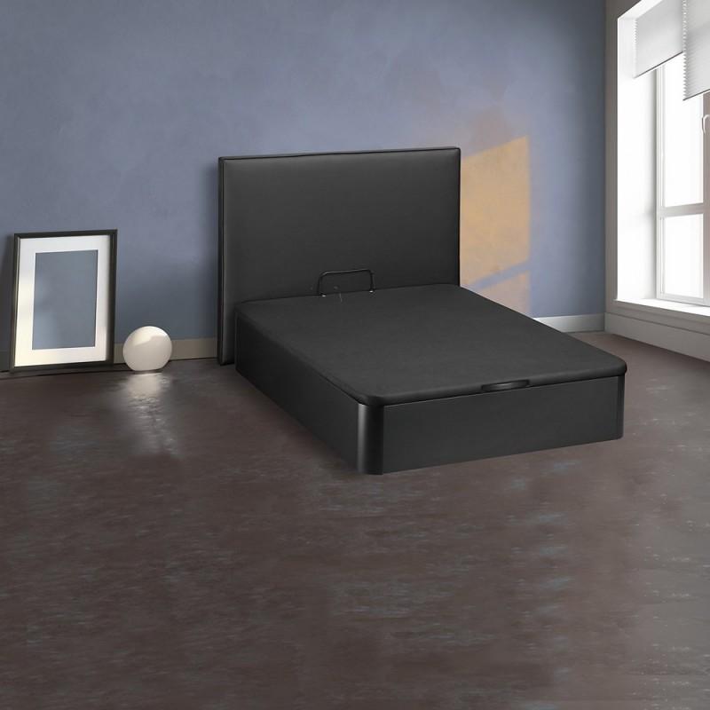 sommier coffre et dosseret style bois noir 2 places merinos. Black Bedroom Furniture Sets. Home Design Ideas