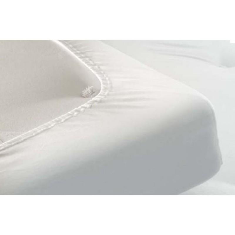 Drap housse en h coton blanc literie lectrique nicole germain - Drap housse 160x190 ...